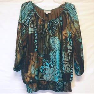Eclectic Top in Turquoise and Browns